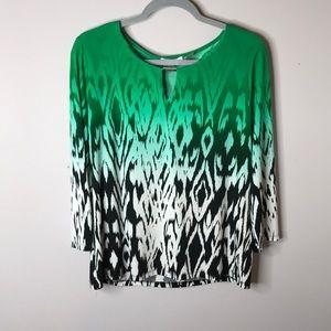 Green Multi Design Calvin Klein Sz L Top